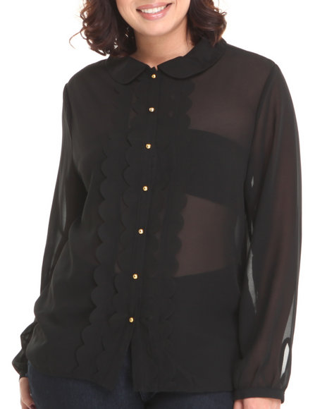 Basic Essentials - Women Black Peter Pan Collar Style Chiffon Button Down
