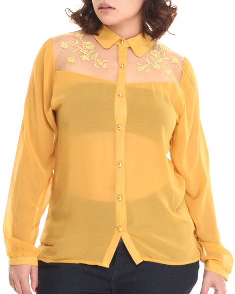Basic Essentials - Women Yellow Mari Lace Detail Chiffon Button Down