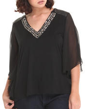 Fashion Lab - Claire Flowy Top w/neckline stone detail