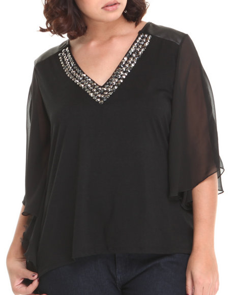 Fashion Lab - Women Black Claire Flowy Top W/Neckline Stone Detail - $17.99