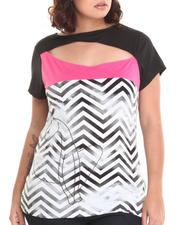 Baby Phat - Chevron Print Colorblock Open Back Top (Plus)