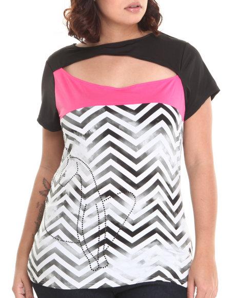 Baby Phat - Women Black,Pink Chevron Print Colorblock Open Back Top (Plus)