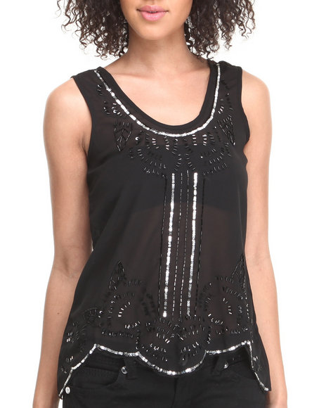 Fashion Lab - Women Black Highland Princess Top W/Sequins