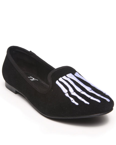 Y.R.U. Black Lavish Bone Smoking Flats
