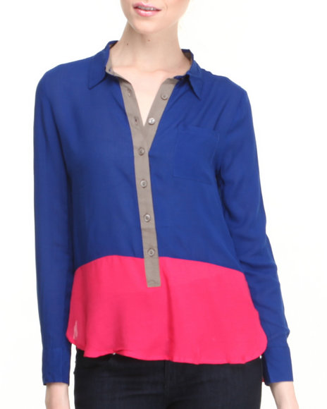 Fashion Lab - Women Blue Miles Color Block Chiffon Top
