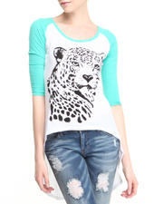 Fashion Lab - Leopard Face 3/4 sleve Hi-Low Tee