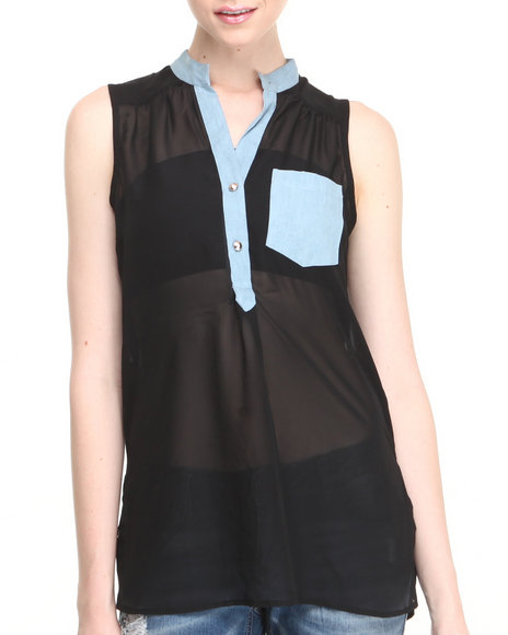 Basic Essentials - Women Black Blues Bros Sleeveless Chiffon Hi-Low Top