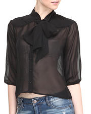 Basic Essentials - Front Bow Tie Chiffon Top
