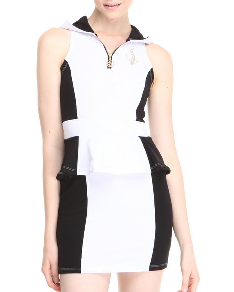 Baby Phat - Women Black, White Hooded Sleeveless Dress