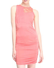 Women - Ronda Ruched Body Con Dress w/lace detail