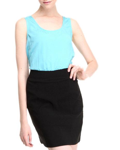 Basic Essentials Blue Darla Color Blocked Dress