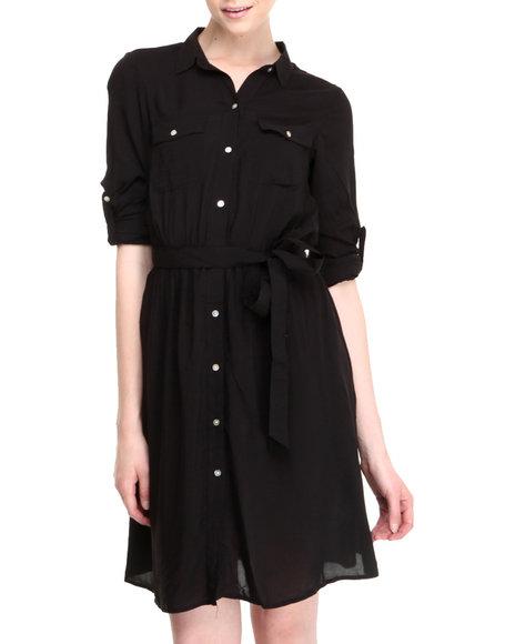 Basic Essentials Black Darmedy Button Down Dress