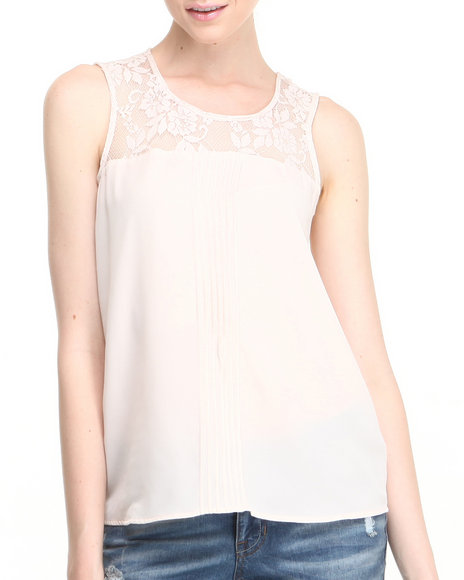 Fashion Lab - Women Beige Sleeveless Lace Top - $9.99
