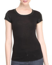 Women - Stellaaa! Vegan Leather Trim Tee