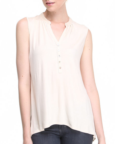 Fashion Lab - Women Beige Marks Sleeveless Tunic - $6.99