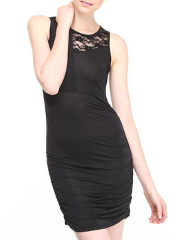 Fashion Lab - Ronda Ruched Body Con Dress w/lace detail