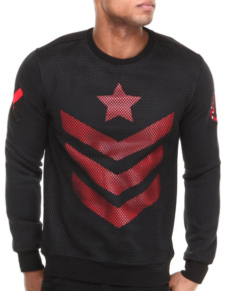 Hudson NYC Black Corporal Mesh Panel Crewneck Sweatshirt