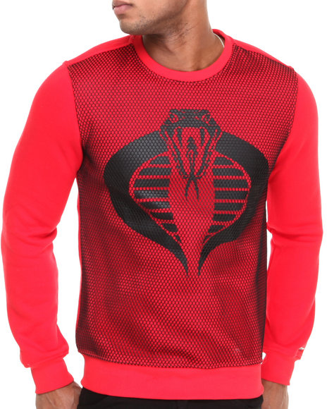 Hudson NYC Red Cobra Mesh Panel Crewneck Sweatshirt