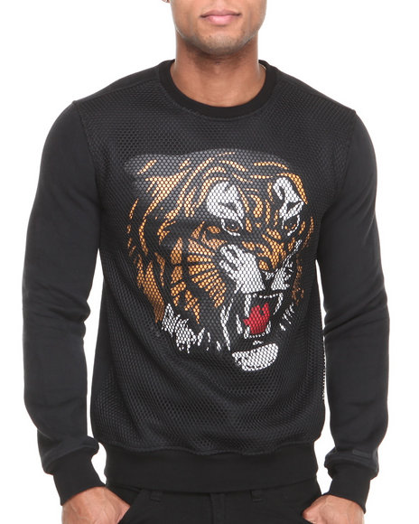 Hudson Nyc - Men Black Tiger Mesh Panel Fleece Crewneck Sweatshirt