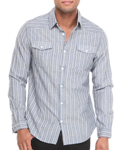 Waimea Blue Jaquard Stripe L/S Button-Down