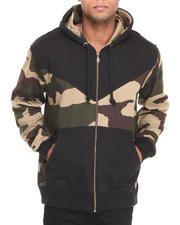 Hoodies - Camo Paneled Zip - Up Hoodie