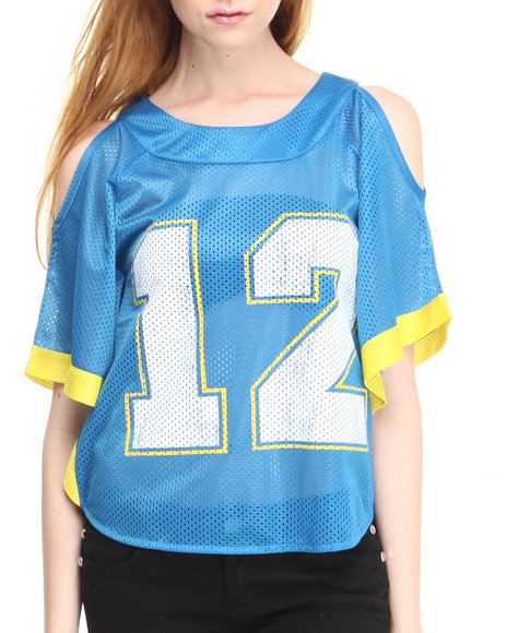 Fashion Lab - Women Blue Lucky Number 12 Jersey Top