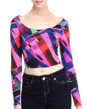 Women - Graphic Print L/S Cropped Top