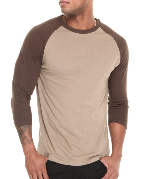 Basic Essentials - Men Khaki,Brown 3/4 Sleeve Raglan Tee