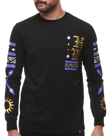 Hudson NYC Black Alpha Aztec Inspired L/S Tee