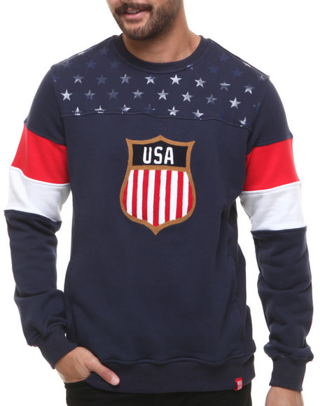 Hudson NYC Navy Game Day Crewneck Sweatshirt