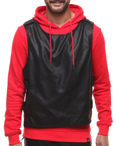 Hudson Nyc - Men Red Bullet-Proof Vest Pullover Hoodie