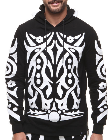 Hudson NYC Black Tribal Warrior Chain Stitch Embroidered Pullover Hoodie
