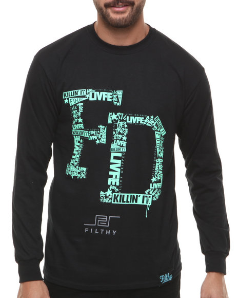 Filthy Dripped - Men Black College L/S T-Shirt