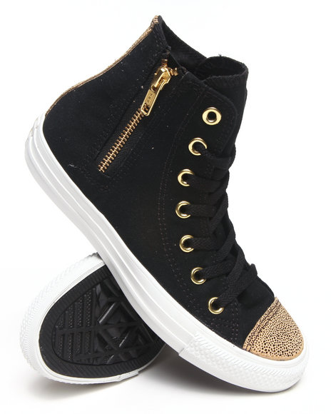 Converse - Women Black Chuck Taylor Sparkle Toe Cap All Star Side Zip Sneakers