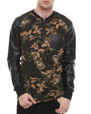 Men - Floral P U - Sleeved L/S Raglan