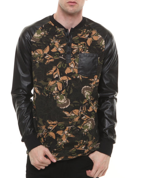 Winchester - Men Black Floral P U - Sleeved L/S Raglan
