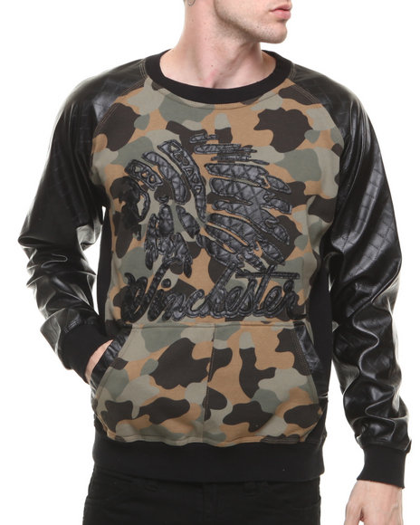 Winchester Camo Signature Native Camo Crewneck Sweatshirt W/ Quilted Pu Sleeves