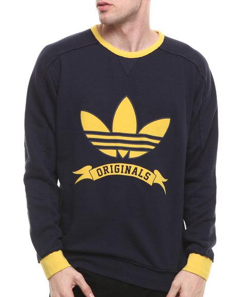 Adidas - Men Navy Originals Graphic Banner Crew Sweatshirt