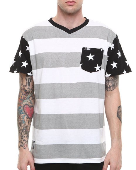 Akademiks - Men Black Roosevelt Stripe Pocket V-Neck Tee - $16.99