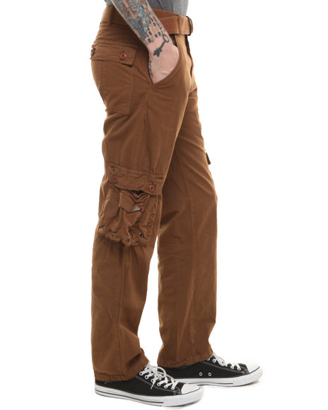 Buyers Picks - Men Brown,Khaki Double Pocket Belted Cargo Pants