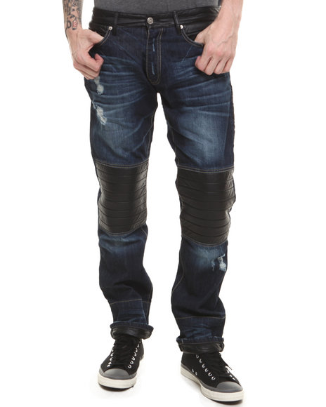 Winchester - Men Dark Wash P U Lower - Trimmed Knee Patch Denim Jeans
