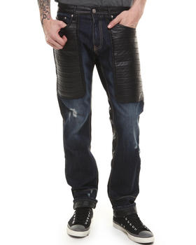Winchester - Faux Leather Upper - Trimmed Denim Jeans