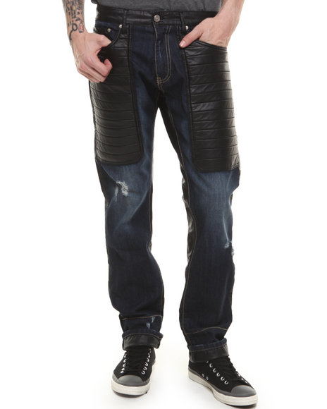 Winchester Dark Wash Faux Leather Upper Trimmed Denim Jeans