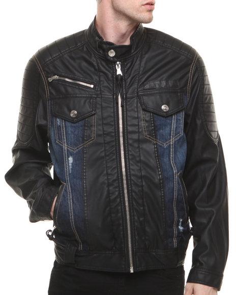 Winchester Dark Wash P U Trimmed Denim Jacket