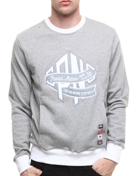 Parish Grey Notre Dame Crew Sweatshirt
