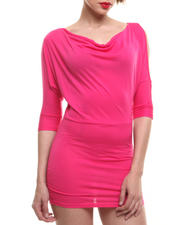 Women - Draped 3/4 Length Sleeve Dress w/ Cutout Shoulders & Mesh Back