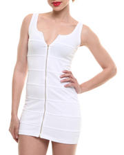 Women - Sleeveless Dress w/ Exposed Front Zipper