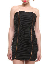 Women - Ruched Strapless Dress w/ Gold Glitter Accents