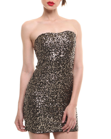 Fashion Lab - Women Gold Strapless Sparkle Dress W/ Sweetheart Neckline