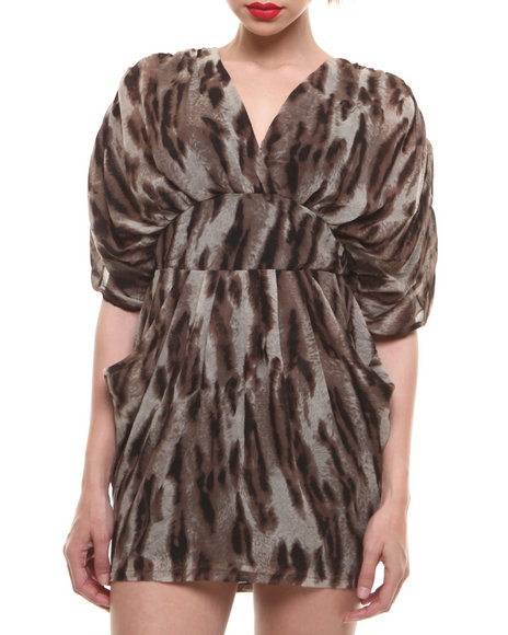 Fashion Lab - Women Animal Print,Brown Draped V-Neck Dress